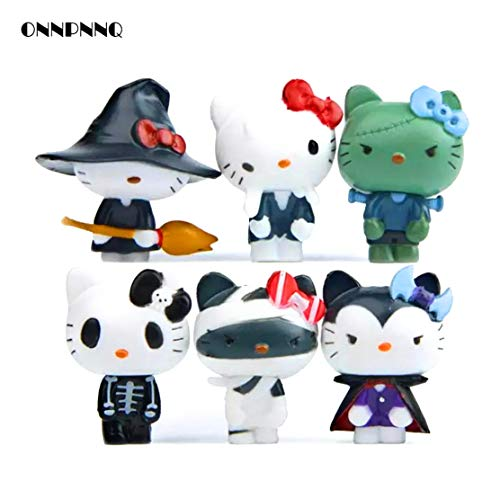 Lovetosell123 6pcs Kawaii Hello Kitty Halloween Miniature Figurines Kids Gift Cute Doll Kt Cat Toy Ornaments Home Decor Statuette Decoration Cute Figures -