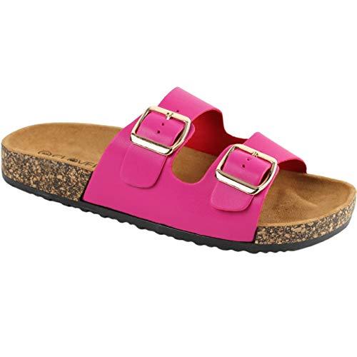 2b1b9c872f8 CLOVERLY Comfort Low Easy Slip On Sandal - Casual Cork Footbed Platform  Sandal Flat - Trendy Open Toe Slide Sandal Shoes (6 M US, Fuchsia)