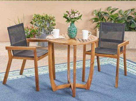Sunroom Furniture- Out Door Patio Furniture- Three Piece Set Black Outdoor Mesh Chair Teak Acacia Table - Great for Summer Barbecues, Garden Parties, and Afternoons Spent Lounging