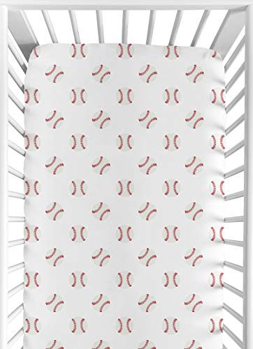 Sweet Jojo Designs Red and White Baby or Toddler Fitted Crib Sheet for Baseball Patch Sports Collection