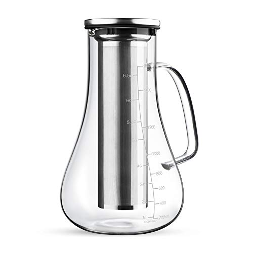 RooLee Cold Brew Coffee Maker Iced Coffee Maker Glass Coffee Carafe 1.5L Airtight Tea Infuser with Removable Stainless Steel Filter Large Capacity