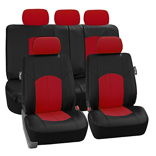 Perforated Leatherette Seat Covers, Full, Red ()