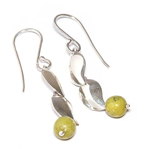NOVICA Serpentine .925 Sterling Silver Dangle Hook Earrings