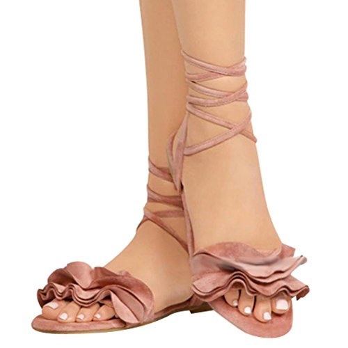 Byste Women Solid Color Ruffles Round Toe Flat Heel Cross Tied Sandals Rome Shoes Pink fTS9LSRISk