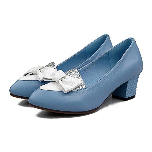 AllhqFashion Mujer Tacón medio Puntera En Punta Cuero de vaca Material suave ZapatosdeTacón Slip-on Azul