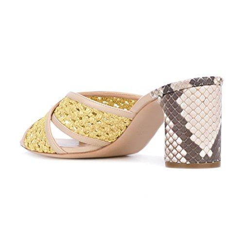 Fsj Vrouwen Kleurrijke Uitgesneden Piepgeluid Mules Snake Print Hoge Hak Pantoffel Sandalen Schoenen Maat 4-15 Us Geel