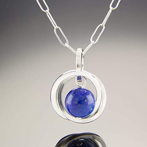 "Blue Lapis Lazuli Real Gemstone Sterling Silver 20"" Pendant Necklace Jewelry Gift for Mother"