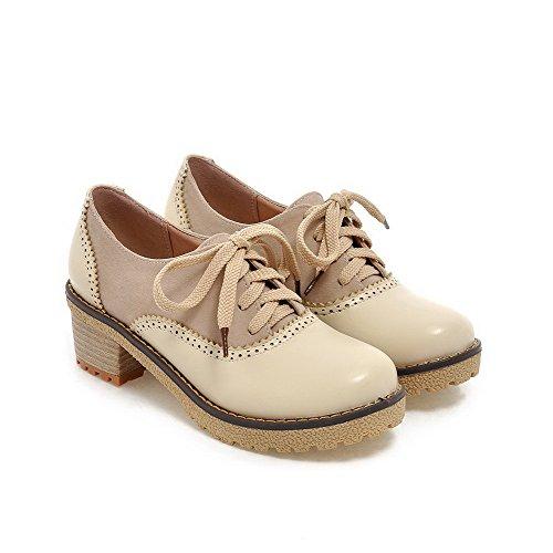 AllhqFashion Damen Rund Zehe Mittler Absatz Weiches Material Rein Schnüren Pumps Schuhe Cremefarben