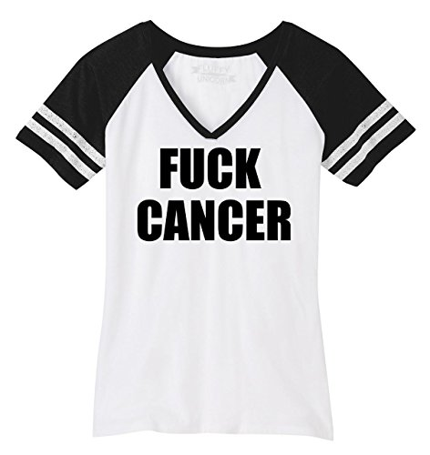 Ladies Game V-Neck Tee Fuck Cancer T Shirt Cancer Awareness Shirt White/Black ()