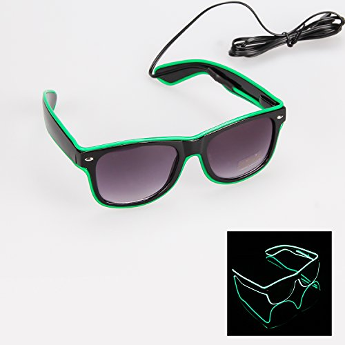 iChase Glow Eye Glasses ,EL Wire Fashion Neon Shutter Electroluminescent Flashing LED Sunglasses with Battery case & 4 Modes Controller for Halloween Christmas Birthday Party Favor - In Case Glow Glasses Dark The