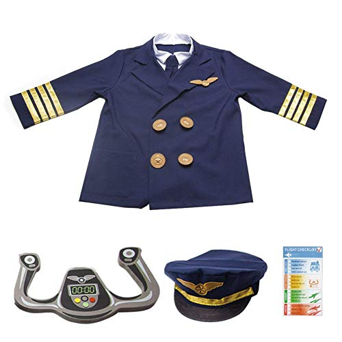 Kids Pilot Costume,Children Airplane Captain Pilot Role Play Costume Cosplay Outfit Dress -Up Set with Realistic Accessories,Jacket,Hat,Tie,Wings,Steering Yoke,Ages 3-6 Years
