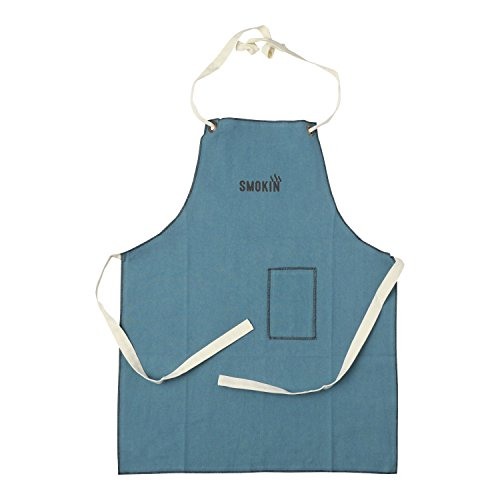 """Hallmark Home Cotton Apron with Pocket, Teal Full Length Lightweight Men's Apron with """"Smokin'"""" Print and Contrast Stitching"""