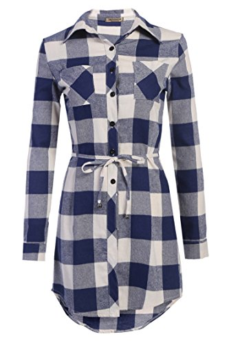 e8b401009 Hotouch Women's Roll Up Sleeve Slim Plaid Shirts Button Down Belted Shirt  Dresses