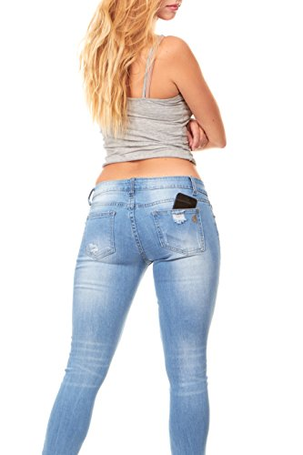 V.I.P. JEANS Ripped and Distressed Frayed Hem Skinny Stretch Jeans Plus Size 16 / Light Blue by V.I.P. JEANS (Image #2)