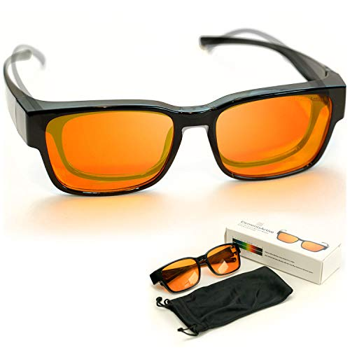Junior Fitover 99.5% Blue Blocking Computer Glasses | Fits Over Prescription Eyeglasses | Amber Orange to Block Blue Light | Better Night Sleep & Reduce Eyestrain Headaches | For Kids and Small Adults