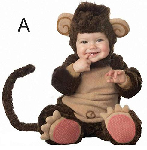 SATUKI Infant Baby Monkey Costume Lamb Wool Jumpsuits Suits Photo Prop Party Cute Costume (6-12moths-A)