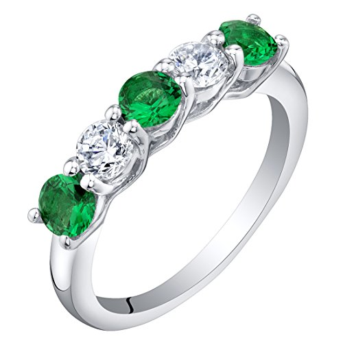 - Sterling Silver Simulated Emerald Five-Stone Trellis Ring Band Size 7