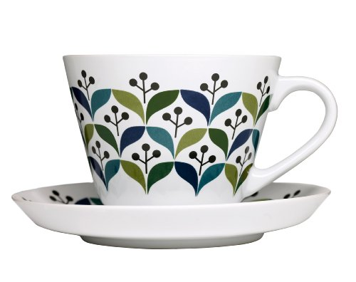 Sagaform 5015830 Stoneware Retro Tea Cup with Saucer, 12-Ounce