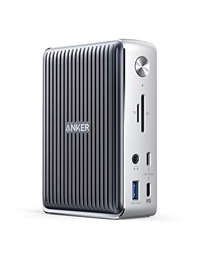 Anker Docking Station, PowerExpand Elite 13-in-1 Thunderbolt 3 Dock for USB-C Laptops, 85W Charging for Laptop, 18W Charging for Phone, 4K HDMI, 1Gbps Ethernet, Audio, USB-A Gen 1, USB-C Gen 2, SD 4.0 (Color: Silver)