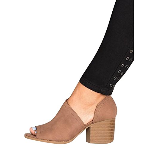 Hibote Women Sandals Low Mid Wedge Heel Peep Toe Ladies Ankle Zip Casual Party Beach Strappy Sandals Brown