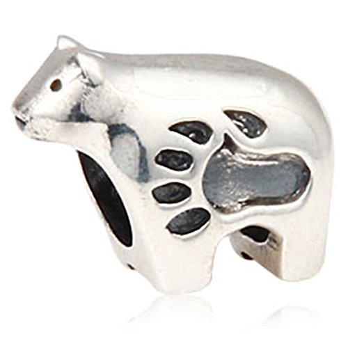 Polar Bear Charm with Paw Print 925 Sterling Silver Animal Bead for ()