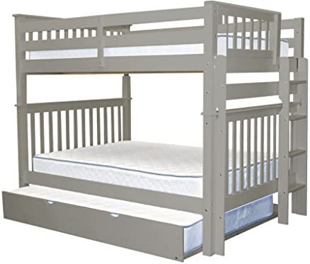 Bedz King Bunk Beds Full over Full Mission Style with End Ladder and a Full Trundle, Gray