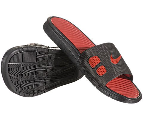 NIKE Men's Benassi Solarsoft Slide Black/Sport Red/Black/Sprt Red Sandal 14  Men US