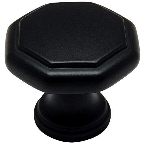 "10 Pack - Cosmas 5181FB Flat Black Cabinet Hardware Octagon Knob - 1-1/4"" Diameter"