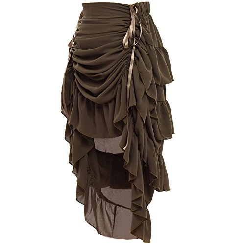 GRACEART Women's Victorian Steampunk Skirt - (Army Green) Medium -