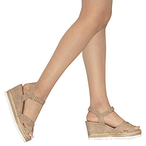 Pente Plateforme Mode Kaki Pour Été Hauts Femme Amazon Chaussures 2019 Compensées À La De Sandales Talons Bouche Boucle Poisson v7pwqSfn