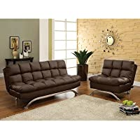 Aristo Bi-Cast Leather Convertible Sofa and Chair Set Color: Dark Espresso