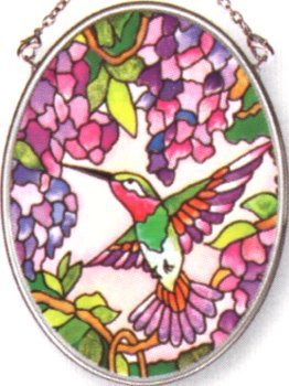 Amia Hand Painted Glass Suncatcher with Wisteria and Hummingbird Design, 3-1/4-Inch by 4-1/4-Inch Oval