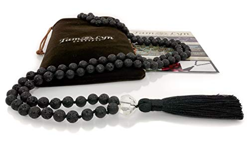 TamLyn Concepts Prayer Beads - Lava Rock Necklace - Mala Beads - Tassel Necklace - Healing Stones - Meditation Beads (Clear Quartz)