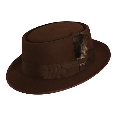 Scala Jazz Pork Pie Hat, X-Large, (Brown Felt Hat)