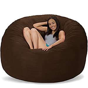 Ultimate Bean Bag Chair for Home Theaters - 6 Ft Comfy Sack - Chocolate Suede
