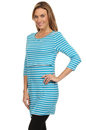 BellyMoms Bailey Stripe Maternity and Nursing Top (Blue and White, Medium) by BellyMoms (Image #3)
