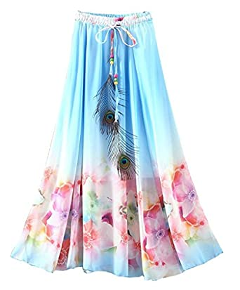 ouye s colorful floral summer maxi skirt blue