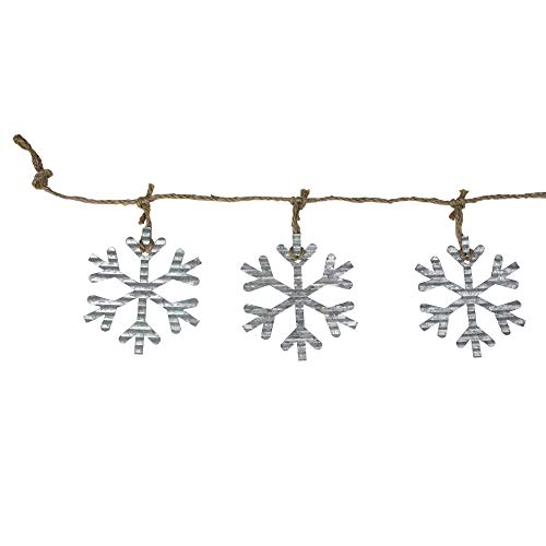 Melrose 5.75' Galvanized Snowflakes on Jute Rope Christmas Garland
