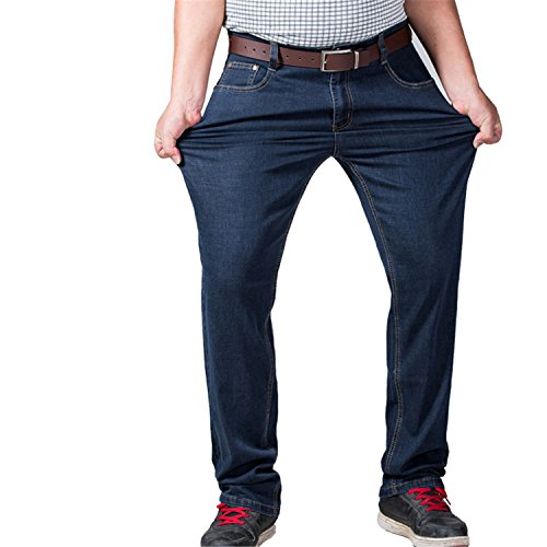 Coac3 Mens Big and Tall High Stretch Jeans Denim Business Relax Pants Dark Blue by Coac3