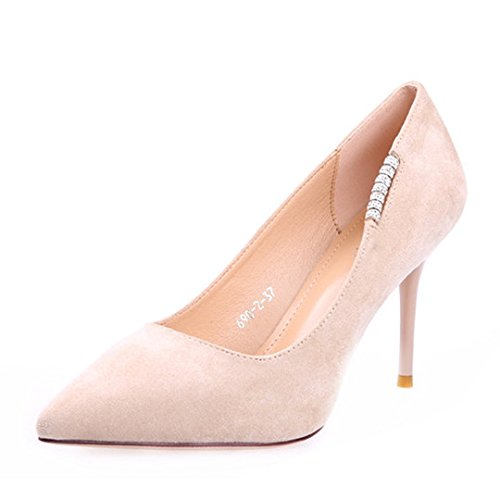 altos Lado 9cm 39 38 superficial Sandalias Transpirable zapatos tacones De Ajunr Suede con Los Boca Moda Diamante Una elegante multa temperamento Apricot 6qA10RPT