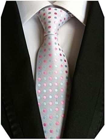 MENDENG Green Red Rainbow Polka Dot Ties Jacquard Woven Silk Men's Tie Necktie