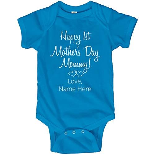 Custom Name Mothers Day Bodysuit: Infant Bodysuit Turquoise ()