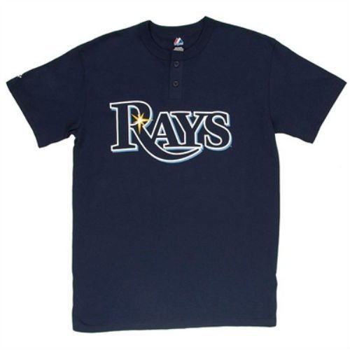 Majestic Tampa Bay Rays Youth Medium Wordmark 2-Button Cool Base Performance Shirt - Navy Blue