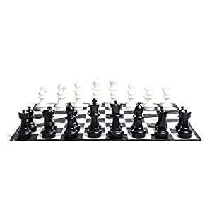 MegaChess Large Chess Set - 12 inch King; Bundle with Garden Checkers Set and Large Chess Mat (3 items)