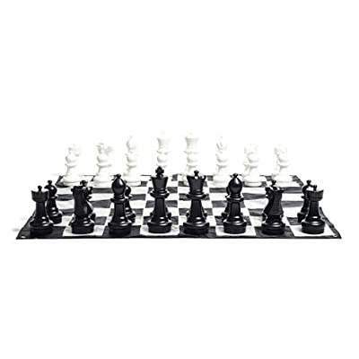 MegaChess Giant Chess Set - 37 inch King; Bundle with Giant Checkers Set and Giant Chess Mat (3 items)