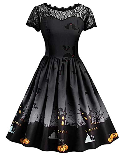 Vanbuy Womens 50s Vintage Halloween Dress Costume Rockabilly Cocktail Party Swing Dress Z179-Black-L -