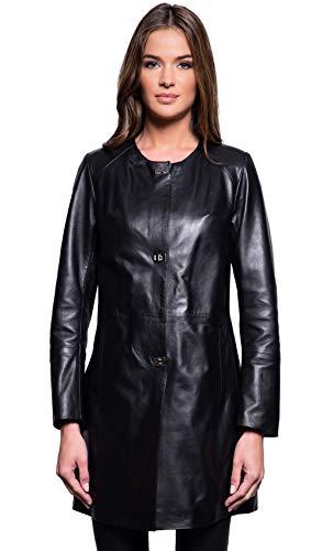 - Giorgio & Mario Mid-Length Leather Coat Summer Collection Women Black