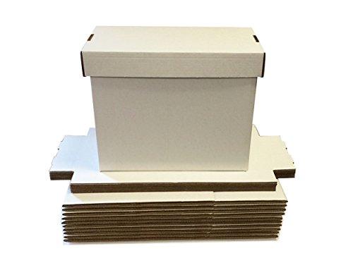 (10 SHORT Comic Storage Boxes - Full Bundle - Each box Holds 150 - 175 Comic Books - WHITE)