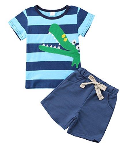 2Pcs Toddler Kids Boys Summer Cartoon Crocodile T-Shirt Tops Plaid Shorts Outfits Set Clothes (Style 6, 6 (5-6Y))