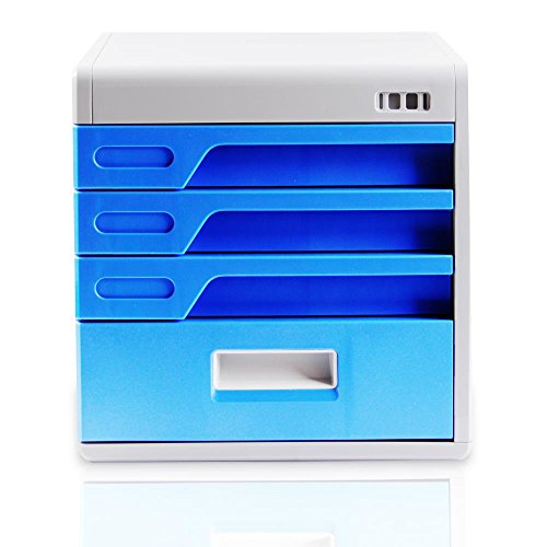 Review Locking Drawer Cabinet Desk Organizer – Home Office Desktop File Storage Box w/ 4 Lock Drawers, Great for Filing & Organizing Paper Documents, Tools, Kids Craft Supplies – SereneLife SLFCAB20